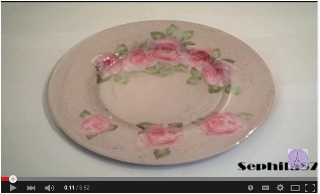 Decorazione di un piatto in vetro con cracklé e découpage