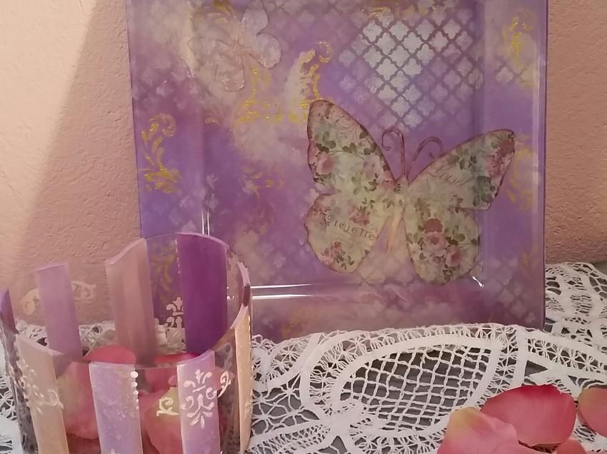 Come decorare un piatto di vetro con découpage e stencil