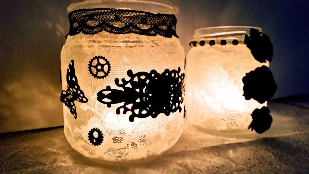 come fare portacandele decorati con vasetti di vetro
